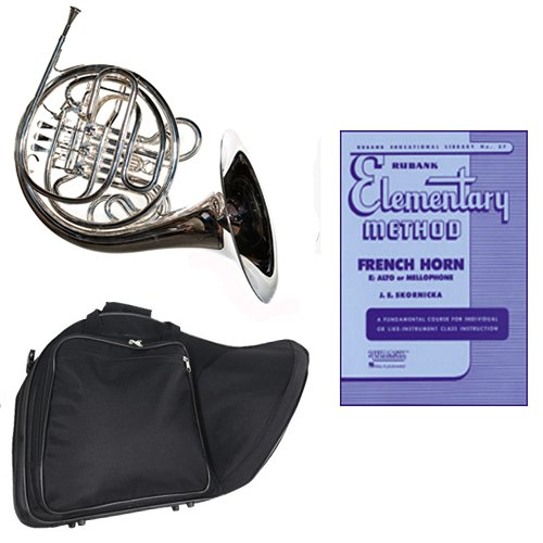 Band Directors Choice Silver Plated Double French Horn Key of F/Bb - Rubank Elementary Method Pack; Includes Intermediate French Horn, Case, Accessories & Rubank Elementary Method Book by Double French Horn Packs