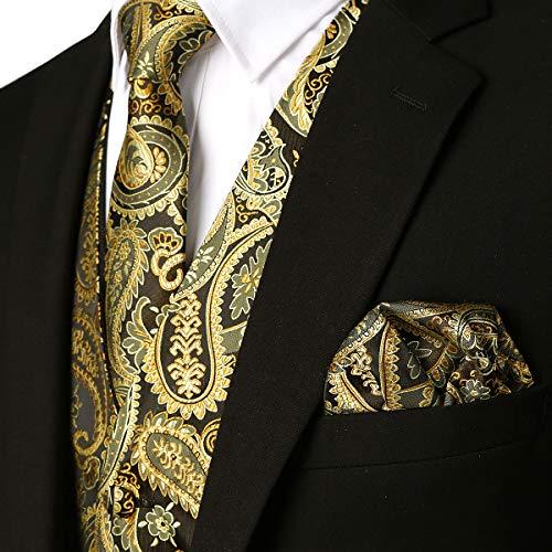 MAGE MALE Men's 3pc Paisley Floral Jacquard Vest Waistcoat Necktie Pocket Square Set for Suit or Tuxedo - Gold Piece Suit 3