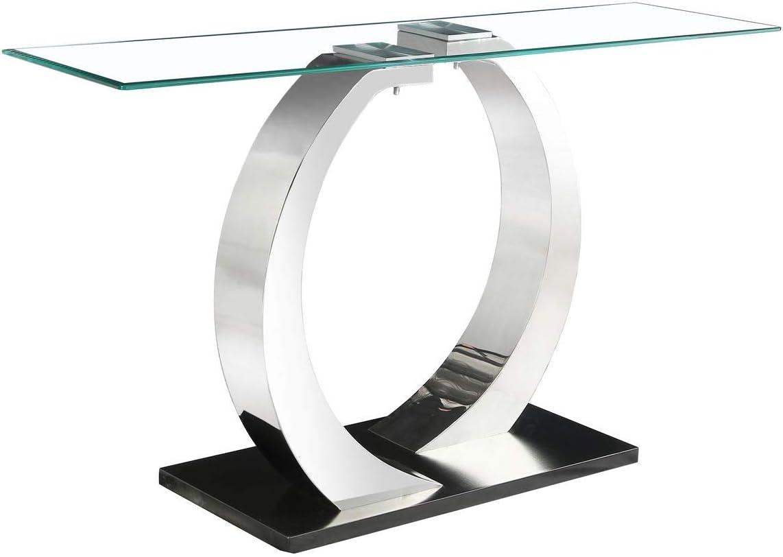 Pizzo - Mesa consola de cristal con base de acero inoxidable ...