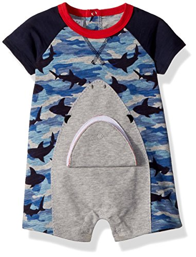 Mud Pie Baby Boys Camo Shark Short Sleeve Raglan One Piece Playwear
