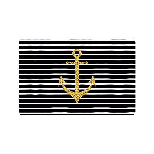 InterestPrint Modern Gold Sparkle Anchor on Black and White Striped Line Doormat Non-Slip Indoor And Outdoor Door Mat Rug Home Decor, Rug Floor Mats Rubber Backing, 23.6