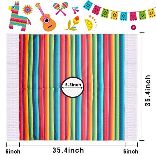 BigOtters Mexican Serape Poncho Costume, Cinco De Mayo Mexican Fiesta Ponchos Party Colorful Striped Cosplay for Kids Toddler and Child Favor
