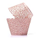 UNIQLED Filigree Artistic Bake Cake Paper Cups Little Vine Lace Laser Cut Liner Cupcake Wrappers Baking Cup Muffin Holder Case for Wedding Birthday Party Decoration (60, Pink)