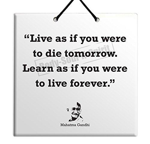 Mahatma Gandhi Quote Ceramic Wall Hanging Art Sign 15x15 CM -