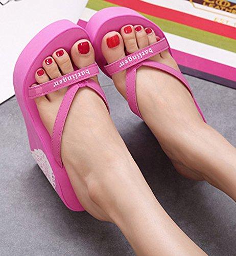 b0a536ea680 IDIFU Women s Trendy Printed High Heels Wedge Platform Flip Flops ...