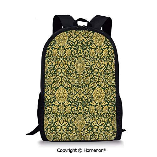 Swirl Girl Scouts Green - Hunter Green Earth Yellow,design Boys Girls School Bag Rucksack Durable Bookbag