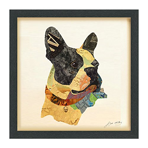 Empire Art Direct Boston Terrier Closeup Dimensional Collage Handmade by Alex Zeng Framed Graphic Dog Wall Art, 17