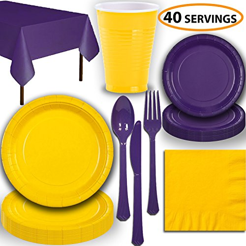 - Disposable Party Supplies, Serves 40 - Yellow and Purple - Large and Small Paper Plates, 12 oz Plastic Cups, Heavyweight Cutlery, Napkins, and Tablecloths. Full Two-Tone Tableware Set