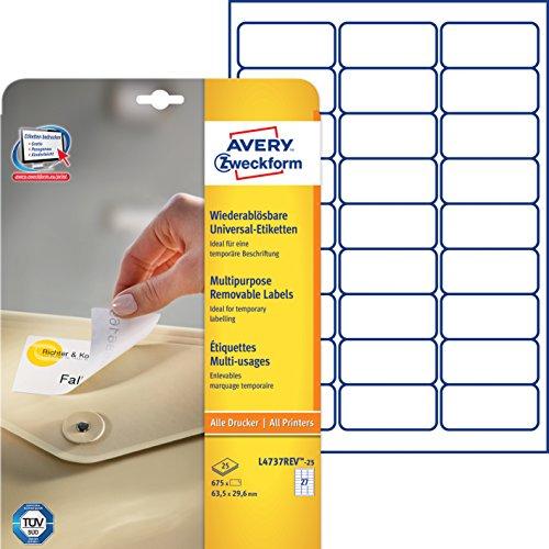 Avery Zweckform L4737REV-25 Universal-Etiketten (A4, 675 Etiketten ablösbar, 63,5 x 29,6 mm) 25 Blatt weiß