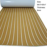 Faux Teak Decking Sheet EVA Synthetic Teak Deck For Boat Gold With White Stripes 94.5''x35.4''