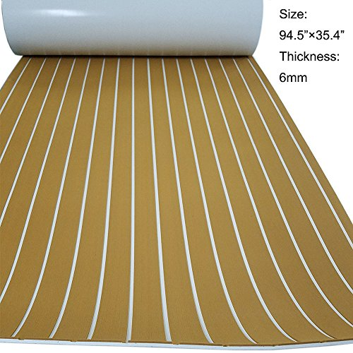 "Faux Teak Decking Sheet EVA Synthetic Teak Deck For Boat Gold With White Stripes 94.5""x35.4"""