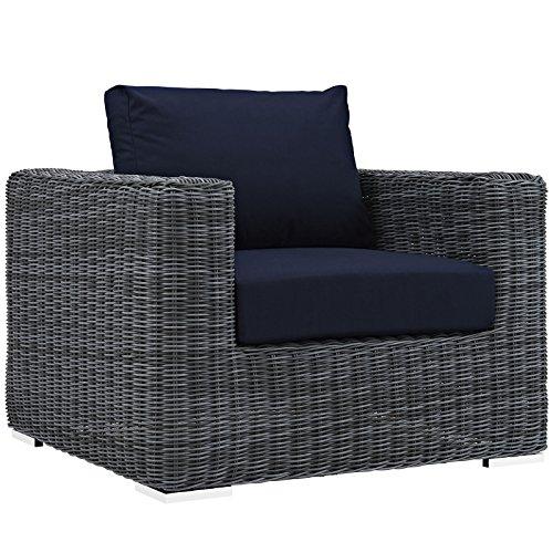 - Modway Summon Outdoor Patio Armchair With Sunbrella Brand Navy Canvas Cushions