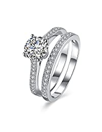 Women's Pack of 2 Stacking Rings 925 Sterling Silver Zircon Wedding Band Eternity Engagement Promise Ring