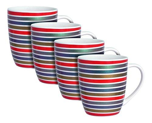 Zrike Mug China - Zrike Brands Metallic Rainbow Stripes Mug, Red, Set of 4
