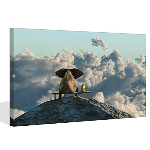 - Visual Art Decor Decor XLarge Modern Animals Canvas Prints Wall Art Elephant and Dog Sit on Mountain Top Face The World's Silence Together Ready to Hang (Mountain Top, 32