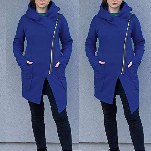 Fashion 2018 Donna Da felpa Donna Bazhahei Cappuccio elegante risvolto felpe Tumblr Top Felpa Autunno Con Camicetta Top Top Maniche Casual Lunghe Ragazza Blu felpa Tasca Ox1F6x