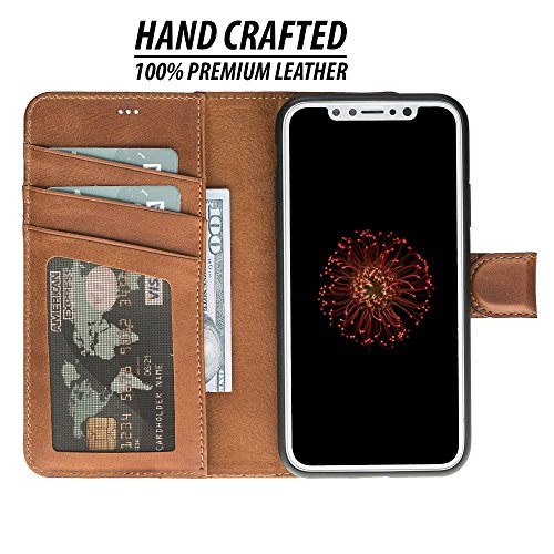 iPhone X/XS Detachable Leather Wallet Case with Magnetic Flap Closure and Premium Snap-on Back Cover, Book Style Cover with Card Holders and Kickstand in a Gift Box (Burnished Tan) (Difference Between Iphone X And Iphone 8)