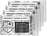 Swiss Safe Emergency Mylar Thermal Blankets (4-Pack) + Bonus Signature Gold Foil Space Blanket: Designed for NASA – Perfect for Outdoors, Hiking, Survival, Marathons or First Aid (Arctic Camouflage)