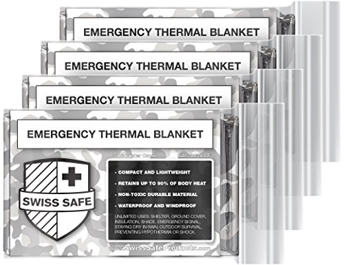 Emergency Mylar Thermal Blankets (4-Pack) + BONUS Signature Gold Foil Space Blanket: Designed for NASA – Perfect for Outdoors, Hiking, Survival, Marathons or First Aid (Arctic Camouflage)