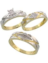 10k yellow gold trio engagement wedding ring set for him and her 3 piece 6 - Wedding Rings Amazon
