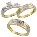 10k Yellow Gold Trio Engagement Wedding Ring Set for Him and Her 3-piece 6 mm & 5 mm wide 0.12 cttw Brilliant Cut, Ladies Size 10