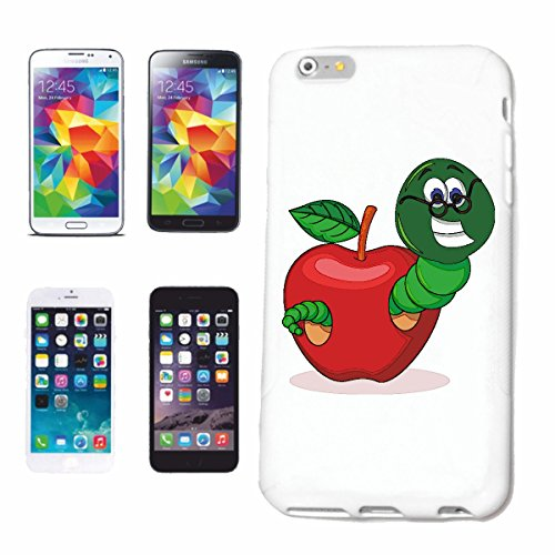 "cas de téléphone iPhone 6+ Plus ""RIRE WORM AVEC LUNETTES DE PLUIE APPLE lombricompost WORM ténia Tauwurm GIANT Rotwurm lumbricus"" Hard Case Cover Téléphone Covers Smart Cover pour Apple iPhone en blan"