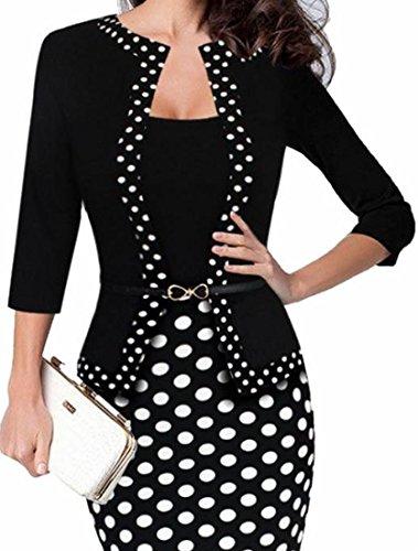 Fashion To Bodycon Dress Work Black Wear One Jaycargogo Party Women piece Business T5Cfq