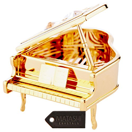 Treasure Box Piano - 24K Gold Plated Highly Polished Piano Ornament Made with Genuine Matashi Crystals