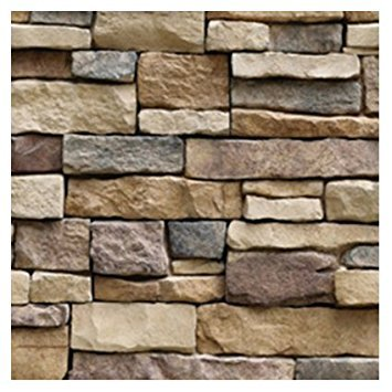 TOOGOO(R) 3D Stone Wall Vinyl Nature Emboss Roll Brick Wallpaper Tv Background Sticker(Rock pieces)45100cm