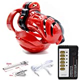 GLOINS Try Try Male Stainless Steel 3D Male Chastity Device Ball Stretcher Penis Ring Electro Shock Scrotum Penis Plug Cage Cock Electric Sex Toys for Men Tshirt,Whole Set Tshirt,45mm