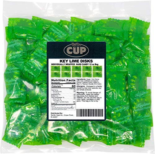 By The Cup Key Lime Disks - Individually Wrapped Hard Candy - 12 Ounce Bag