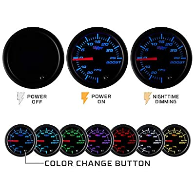 GlowShift Tinted 7 Color 2400 F Pyrometer Exhaust Gas Temperature EGT Gauge Kit - Includes Type K Probe - Black Dial - Smoked Lens - for Car & Truck - 2-1/16