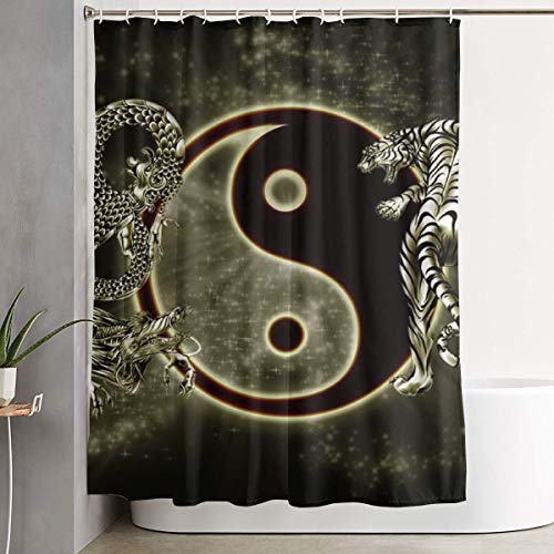 Yin Yang Dragon Tiger Shower Curtain with Hooks Durable Waterproof Polyester Bath Curtain 60''W X 72''H