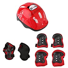 Dovewill 7 Pieces Kids Children Roller Skating Skateboard Bike Helmet Knee Elbow Pad Wrist Guard Protective Sets
