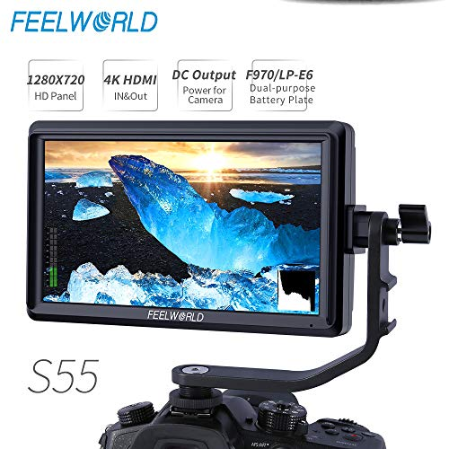 FEELWORLD S55 5.5 inch Camera DSLR Field Monitor Small Full HD 1280×720 IPS Video Peaking Focus Assist with 4K HDMI 8.4V DC Input Output Include Tilt Arm
