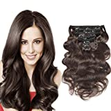 Urbeauty 18' Dark Brown Wavy Clip in Hair Extensions Triple Weft 7Pcs/100g Body Wave Remy Clip in Real Human Hair Extensions Full Head