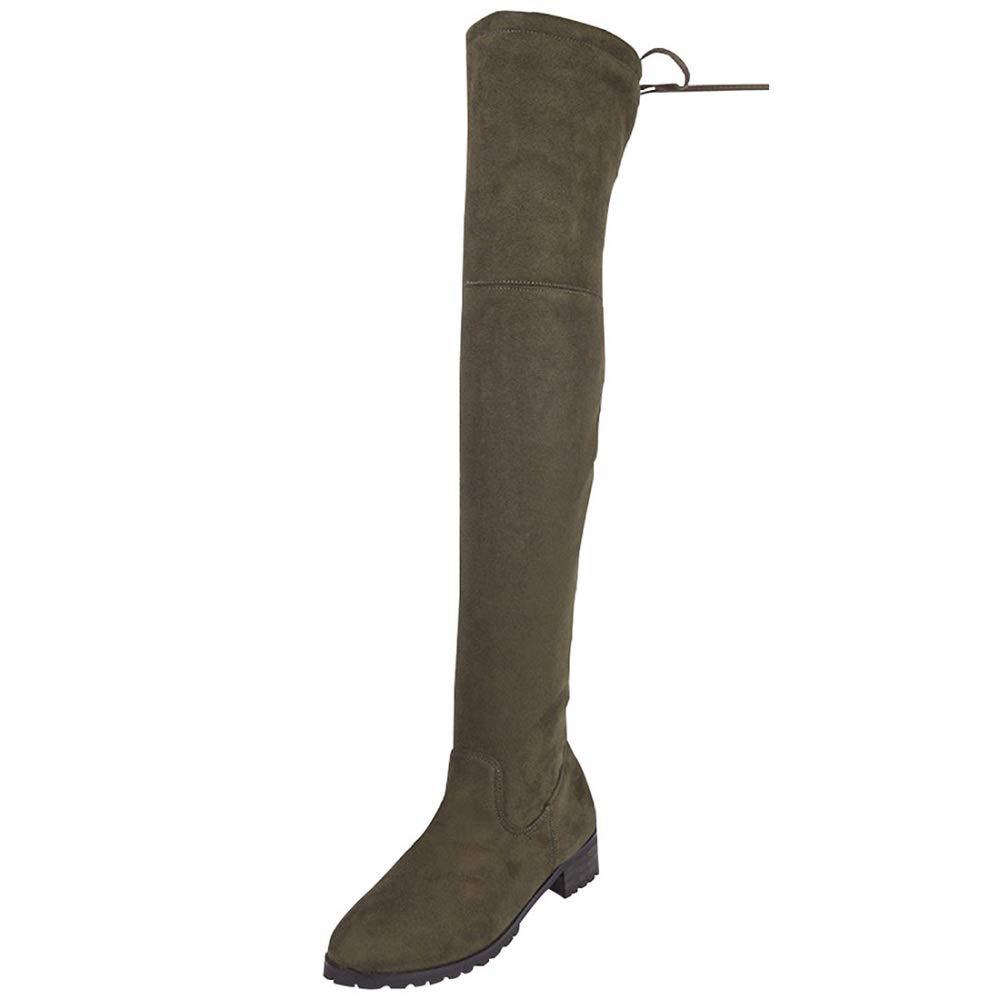 QVRGE Flache Flache Flache Stiefel Aus Wildleder Für Damen dd1021