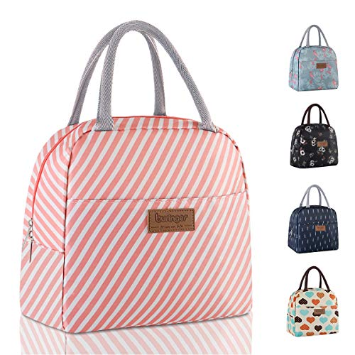Buringer Reusable Insulated Lunch Bag Cooler Tote Box with Front Pocket Zipper Closure for Woman Man Work Picnic or Travel (Pink Stripe Large Size)