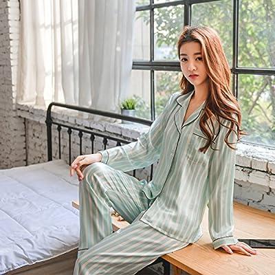 Wanglele Pyjamas En Soie Pyjamas En Soie Automne Et Hiver Robe À Rayures Verticales Matin À Manches Longues Revers Deux-Pièces, Bleu, L.