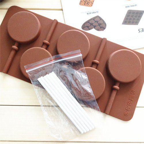 AUCH 1Pcs 5-Capacity Round Shape Silicone Lollipop Making Mold with Paper - Round Shape