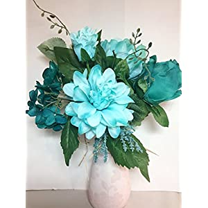 Multi -Toned Teal & Icy Mint Bouquet with Dahlia, Rose, Peony & Phlox , Bride, Vase, Arrangement, Tabletop, DIY Projects, Outdoor Decor, Patio, Porch, Business Displays, Gifts, Wreaths, Home Staging 1