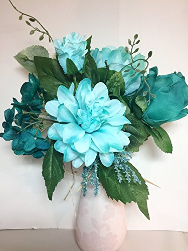 Multi -Toned Teal & Icy Mint Bouquet with Dahlia, Rose, Peony & Phlox , Bride, Vase, Arrangement, Tabletop, DIY Projects, Outdoor Decor, Patio, Porch, Business Displays, Gifts, Wreaths, Home Staging (Rose Wreath Peony)