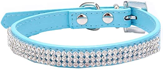 BBEART Pet Collar,Bling Bling Dog Rhinestone Adjustable Collar PU Leather Soft Diamond Elastic Collar for Puppy Small Dog