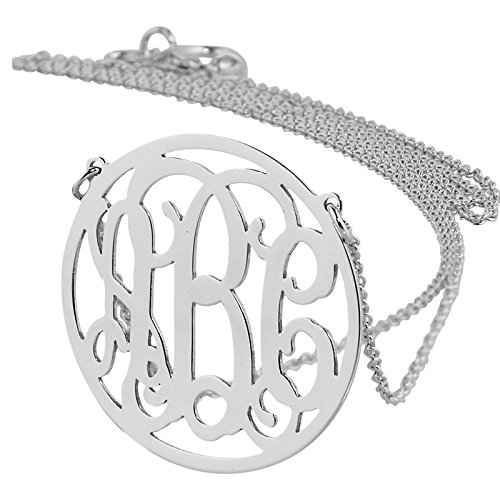3/4 Inch Circle Charm Necklace - Small 3/4 Inch Round Circle Monogram Necklace Solid 14k White Gold Personalized 3 Initials Laser Cut Jewelry. (15)