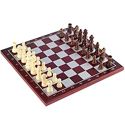 "Wooden Chess Set by SuperChessSet – Chess Set with Lightweight Folding Game Board, Well-Balanced Figures and Magnetic Lock, 11.2"" – Best Gift for Kids and Adults"