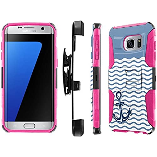 S7 Edge / GS7 Edge [5.5 Screen] Case, [NakedShield] [Black/ Hot Pink] Heavy Duty Holster Armor Tough Case - [ Sales