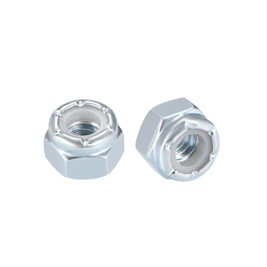 """Pack of 20 Carbon Steel White Zinc Plated uxcell/® 5//16/""""-18 Nylon Insert Hex Lock Nuts"""
