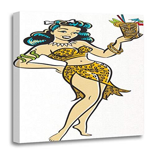 Semtomn Canvas Wall Art Print Pinup Retro Comic of Jungle Goddess Tiki Cocktail Girl Artwork for Home Decor 20 x 20 Inches ()