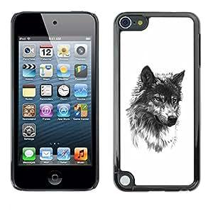 "For Apple iPod Touch 5 Case , Lobo perro de mascota Colmillo Negro bosquejo blanco"" - Diseño Patrón Teléfono Caso Cubierta Case Bumper Duro Protección Case Cover Funda"