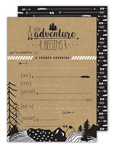 Adventure baby shower invitations - Adventure bridal shower invitations - fill-in format - 25 ct - white envelopes included -& so the adventure begins